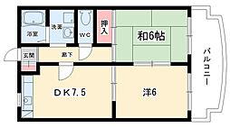 大阪府豊中市東豊中町5丁目の賃貸マンションの間取り
