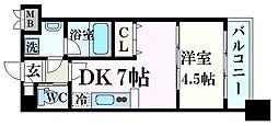 阪神本線 西宮駅 徒歩7分の賃貸マンション 6階1DKの間取り