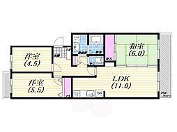 阪急神戸本線 西宮北口駅 徒歩22分の賃貸マンション 2階3LDKの間取り