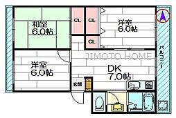 ウエストアベニュー江坂[4階]の間取り