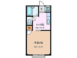 レンタルアパートホップ[2階]の間取り
