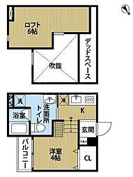 大阪府堺市堺区出島浜通の賃貸アパートの間取り