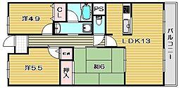グランド茨木[1階]の間取り