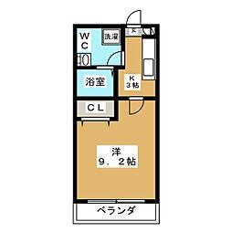 ダイユウビル赤坂 3階1Kの間取り
