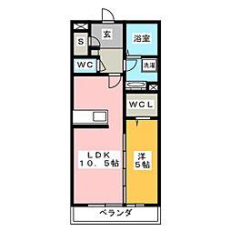リヴェール湘南 1階1LDKの間取り
