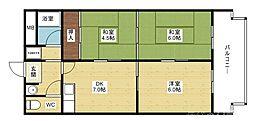 阪急京都本線 淡路駅 徒歩15分の賃貸マンション 2階3DKの間取り