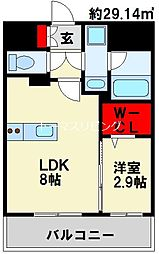 グランフォーレ小倉シティタワー 2階1LDKの間取り