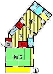 コーポ・JUN[3階]の間取り