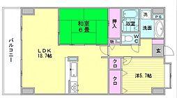 パロス美野島[7階]の間取り
