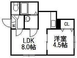 北海道札幌市中央区南八条西12丁目の賃貸アパートの間取り