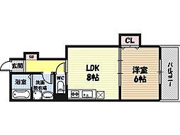 Keystyle城東野江 2階1LDKの間取り
