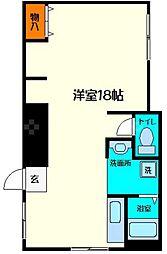 京阪本線 土居駅 徒歩4分の賃貸マンション 1階ワンルームの間取り