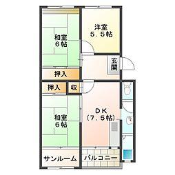 星陵台住宅3号棟[5階]の間取り