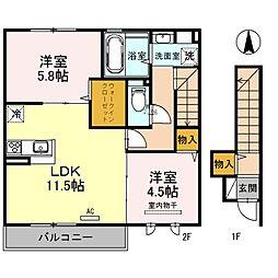 大阪府八尾市北本町3丁目の賃貸アパートの間取り