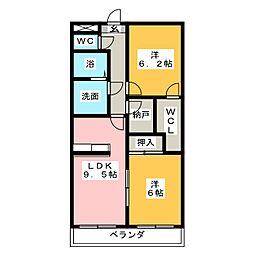 コートボナール鶴里[2階]の間取り
