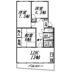 静岡県浜松市南区本郷町の賃貸マンションの間取り