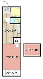 オアシス志井B棟[203号室]の間取り