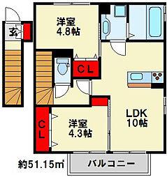 プラージュ上富野[2階]の間取り
