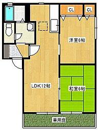 誠山荘アパート[B101号室]の間取り