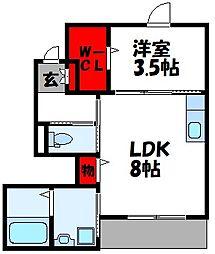仮称)古賀市中央2丁目アパート[107号室]の間取り