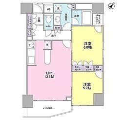 グレンパークG-WEST 8階2LDKの間取り