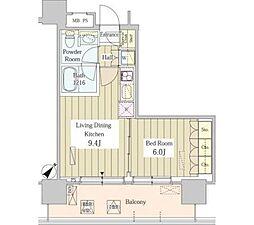 ユニゾンタワー 10階1DKの間取り