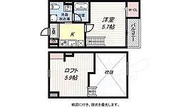 JR東海道・山陽本線 新長田駅 徒歩20分の賃貸アパート 2階1Kの間取り