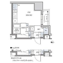 パークアクシス新栄 12階ワンルームの間取り