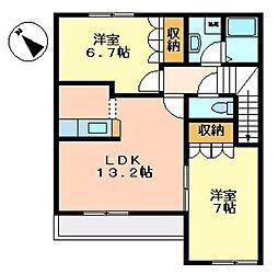 埼玉県熊谷市新堀の賃貸アパートの間取り