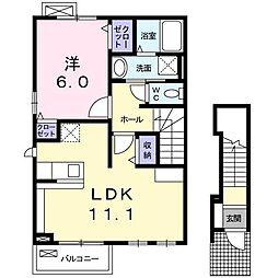 愛知県岡崎市大和町字川原の賃貸アパートの間取り