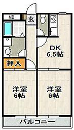 ボヌール山本[203号室]の間取り