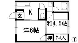 中山寺ハイツ[2階]の間取り