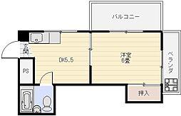 松島ビル 3階1DKの間取り