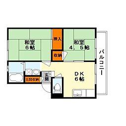 都市ガスコーポ萩〜2〜[2階]の間取り