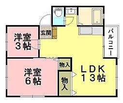木本レジデンスB[3階]の間取り