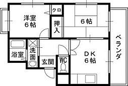 兵庫県尼崎市小中島1丁目の賃貸マンションの間取り