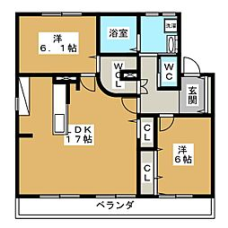 愛知県愛知郡東郷町北山台1丁目の賃貸アパートの間取り