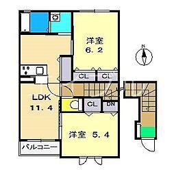 シャーメゾン ルフレ[2階]の間取り