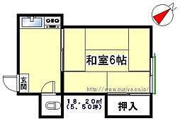 塚本荘[202号室]の間取り
