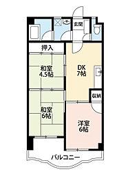 福岡県北九州市小倉北区赤坂1丁目の賃貸マンションの間取り