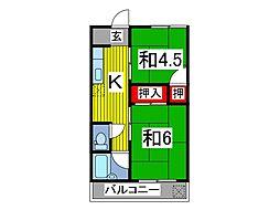 つくし第二マンションB[3階]の間取り