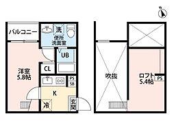 愛知県名古屋市中村区塩池町2丁目の賃貸アパートの間取り