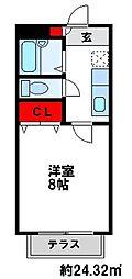 メゾンフルールC[2階]の間取り