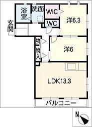 ベル・クールB棟[1階]の間取り