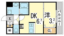JR東海道・山陽本線 新長田駅 徒歩3分の賃貸マンション 11階1DKの間取り