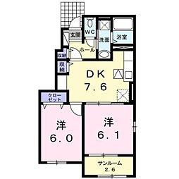 熊本電気鉄道 御代志駅 バス6分 富の原下車 徒歩13分の賃貸アパート 1階2DKの間取り