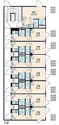 ノースヒル新宿 ウエスト 2階ワンルームの間取り