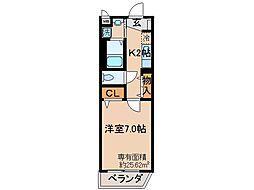 京都府城陽市平川長筬の賃貸アパートの間取り