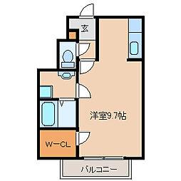 兵庫県尼崎市御園2丁目の賃貸アパートの間取り
