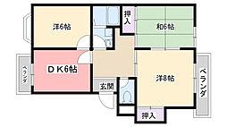 熊野町ハイツ[301号室]の間取り
